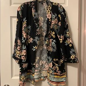 Roz & Ali Floral Tropical Shirt Jacket